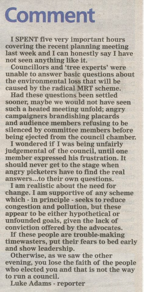Comment on the MRT by Luke Adams that appeared in Reading Chronicle