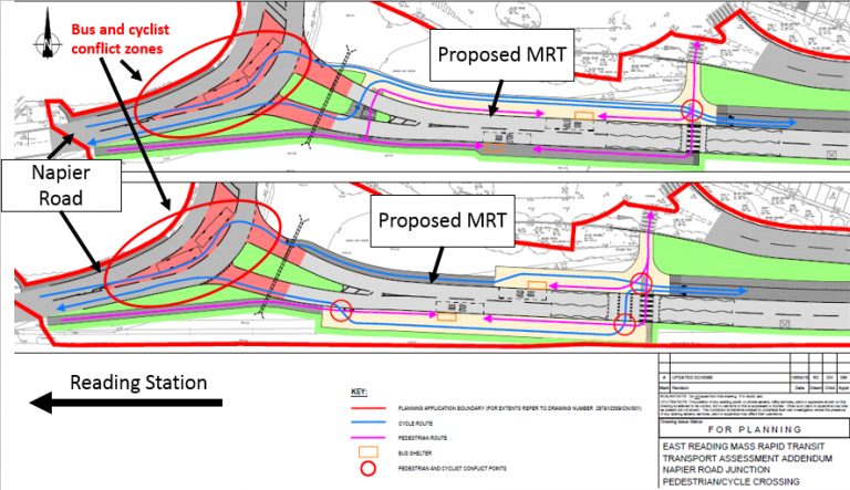 bus, cyclist and pedestrian conflict zones caused by the east reading MRT
