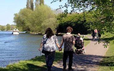 Holding hands Thames Path East Reading