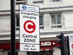Sign indicating start of congestion charging zone